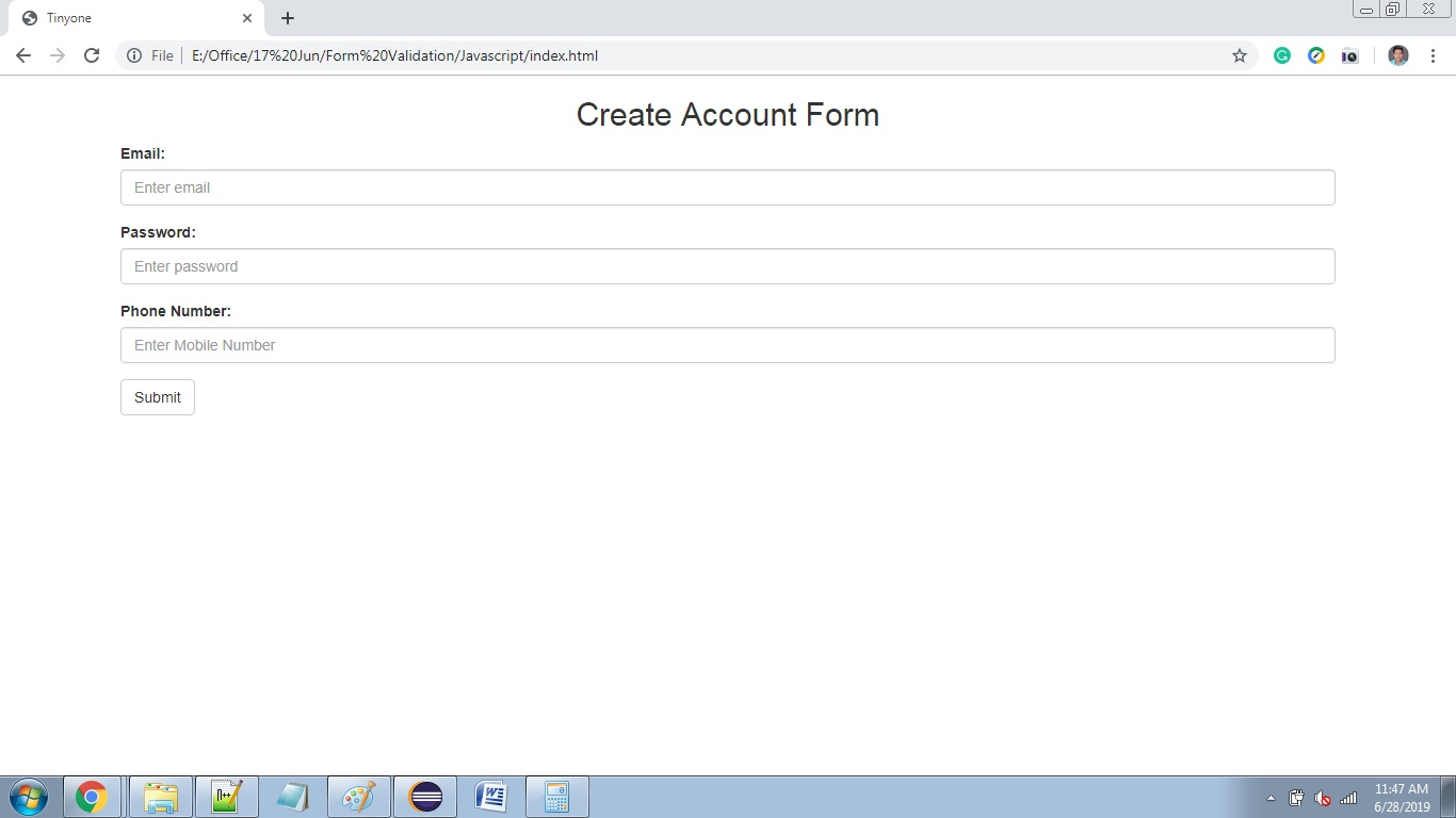 Form Validation using RegEx in JavaScript  Solutions Touch