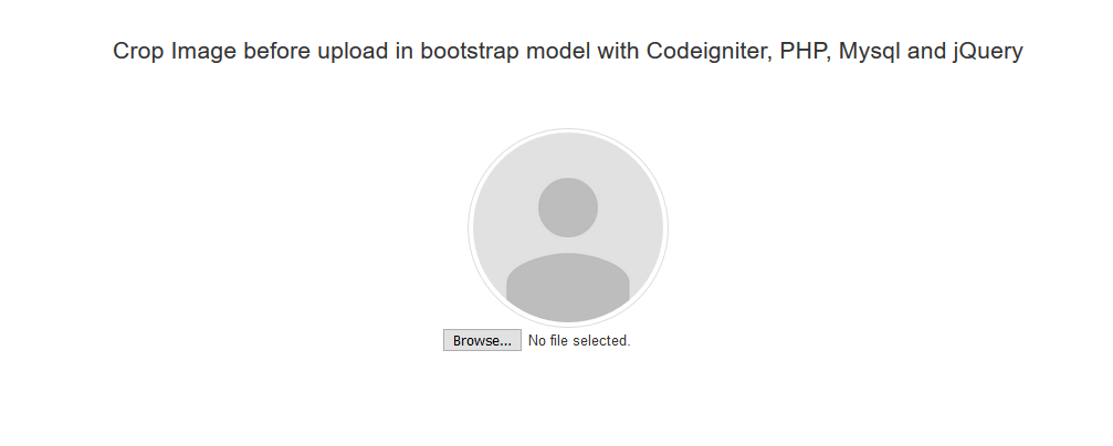 Crop Image before upload in bootstrap model with Codeigniter